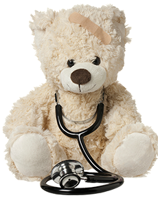 Teddy bear with stethoscope around his neck